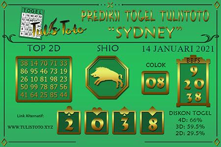 Prediksi Tulistoto Sydney Kamis 14 Januari 2021