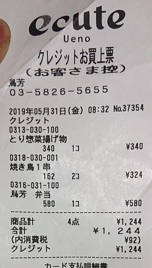 鳥芳 エキュート上野店 2019/5/31 のレシート