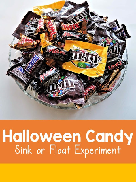 A Halloween candy themed sink or float science experiment. Introduction to scientific process. Materials, procedure, prediction, and record results.