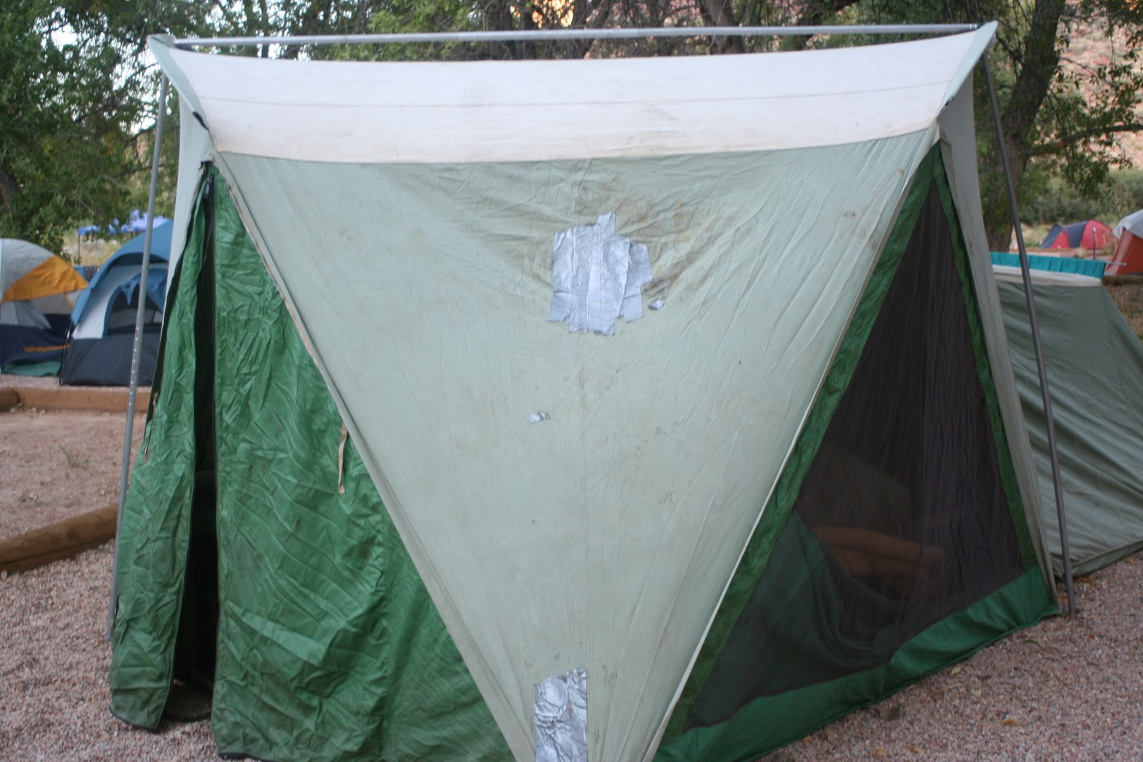 duct tape on tent