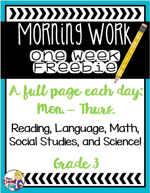 Classroom Freebies Too: Morning Work for Third Grade: FREE