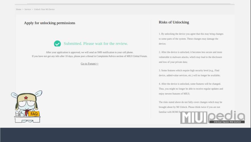 """""""Submitted. Please wait for the review"""" pesan ini berarti proses permohonan unlock selesai dan """"sukses""""."""