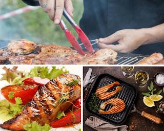 <img source='pic.gif' alt='Saumon grillé au sel avec huile aux herbes et échalotes.'/>