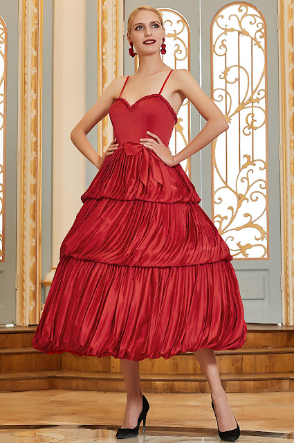spaghetti straps red ball dress with layered skirt