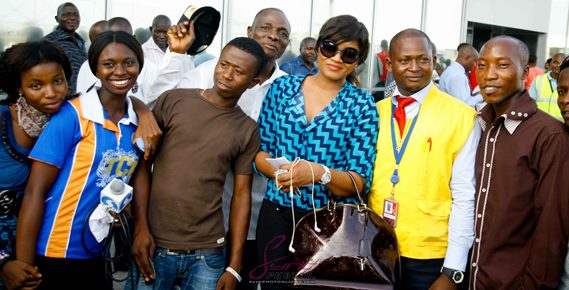 Omotola Jalade-Ekeinde arrives at airport 360nobs