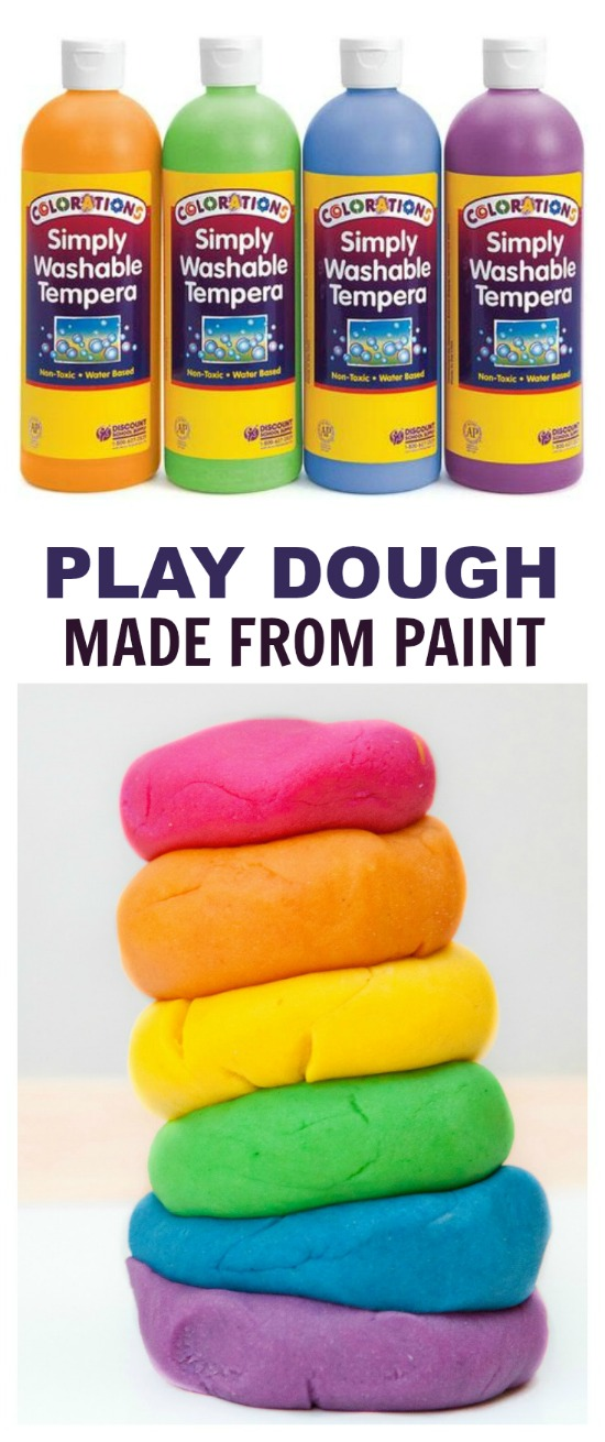Play dough made from paint.  Only one other ingredient and no cooking!  Got 5 minutes?  Then you can make this!
