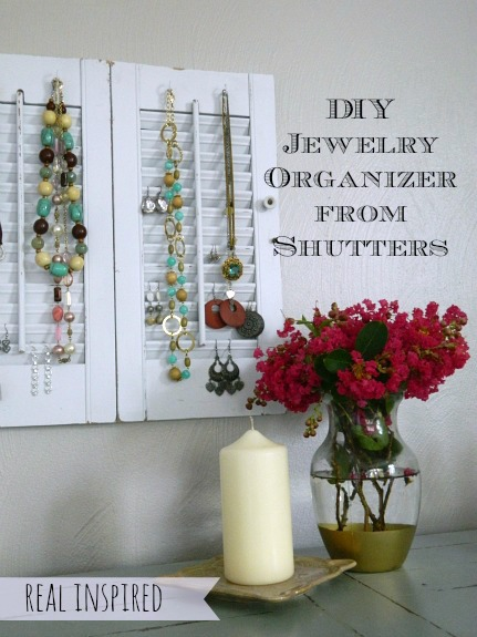 19 Ideas for Reusing Old Shutters: Rustic Shabby Chic Shutter Jewelry Organizer