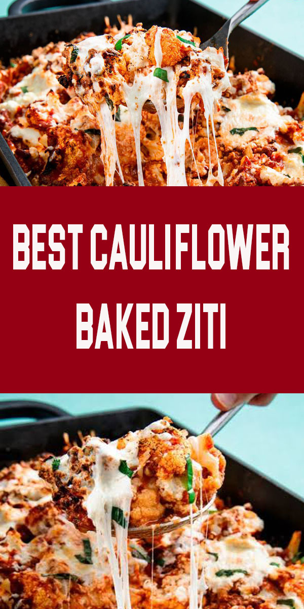 Best Cauliflower Baked Ziti | Ok fine. There's not actually any ziti in this recipe. But you honestly won't even notice. The blanched cauliflower does a fine job of replacing the pasta. Just make sure to drain it well before tossing it with the sauce. #easy #recipe #cauliflower #healthy #lowcarb #baked #ziti #ricotta #cheese #diet #filling #hearty