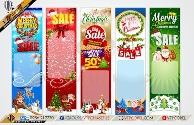 Phướn giảm giá khuyến mãi nhân dịp giáng sinh - Merry Christmas đẹp