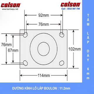 Bảng vẽ kích thước tấm lắp bánh xe nhựa PU 100 chịu tải nặng 243kg | S4-4209-925P-B3 :