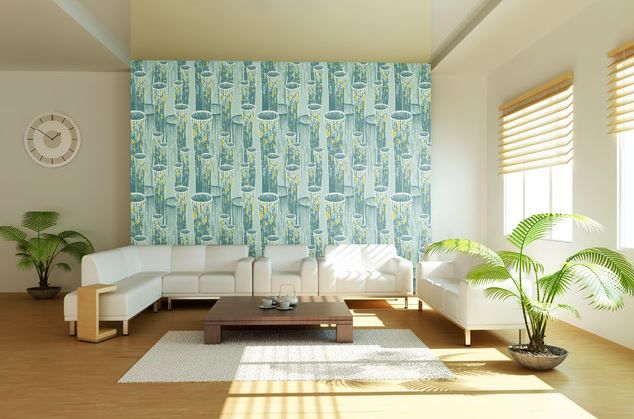 Airy living room with colourful wallpaper