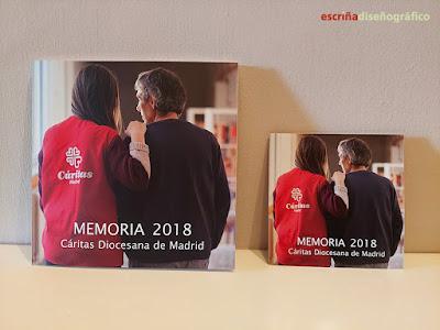 Portada de la Memoria de Actividades y del tríptico de Cáritas Madrid