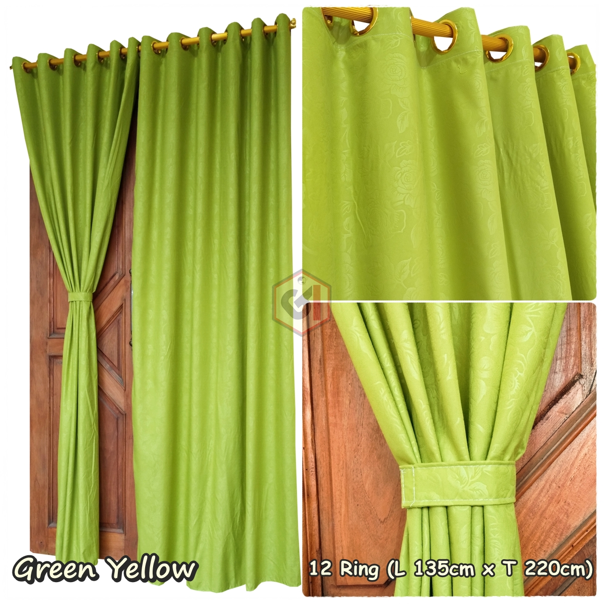 Gorden Pintu Polos Murah Warna Green Yellow Motif Emboss Model Smokering
