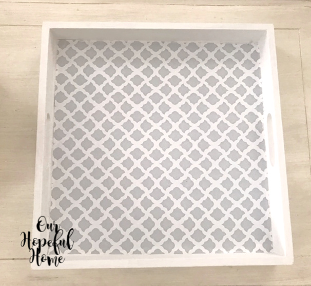 white square tray quatrefoil contact paper