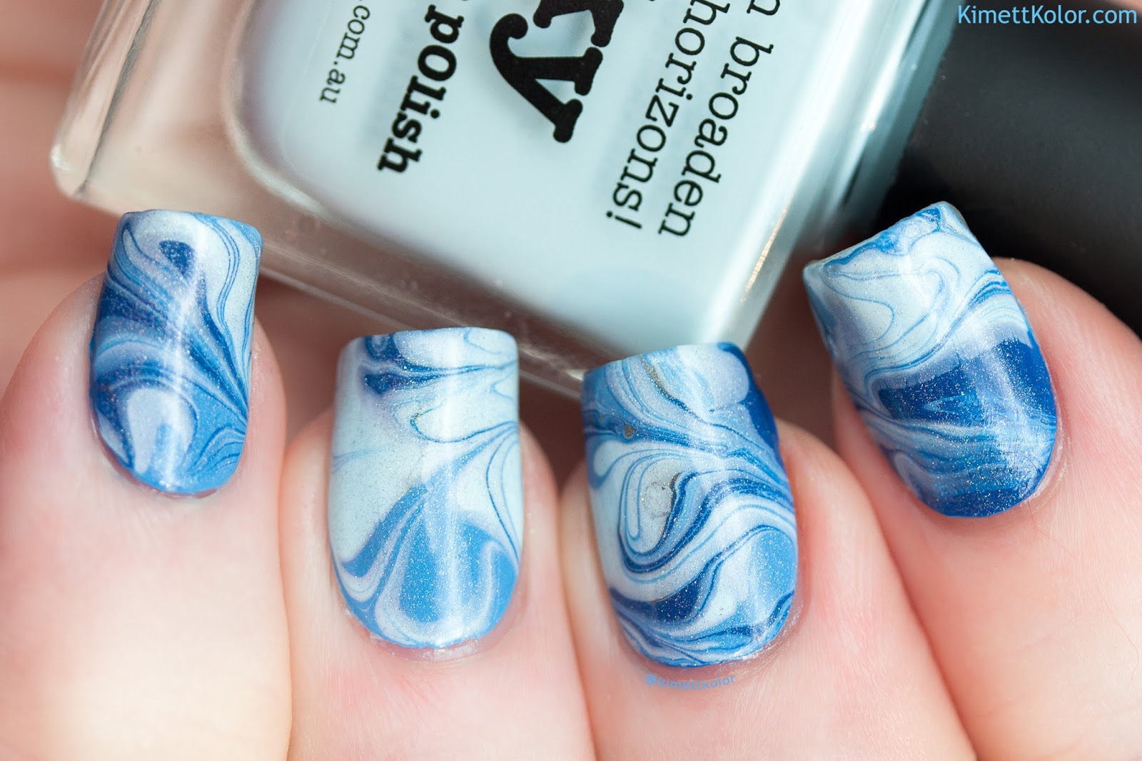 KimettKolor Blue Toned Marble Nail Art