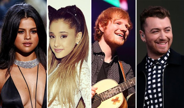 Selena Gómez, Ariana Grande, Ed Sheeran y Sam Smith serán presentadores en los Grammy 2016.