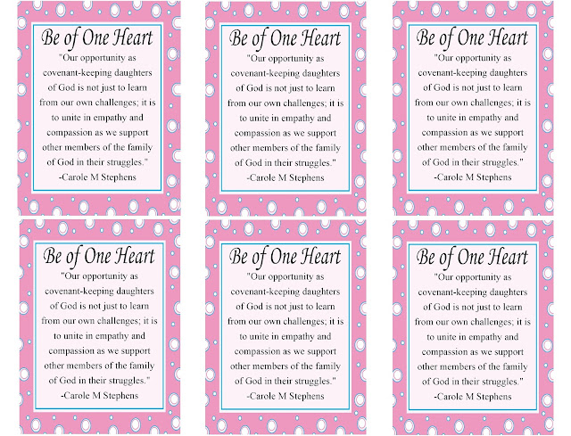 Be of One Heart this month and make your homes, neighborhoods, and communities draw a little closer to Zion this month with this printable visiting teaching message tag.  Take these tags to your Visiting Teaching sisters with a small bag of heart candies and share the Savior's words of love and support.