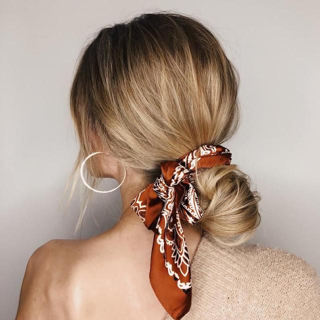 Peinados con bandanas chongo bajo