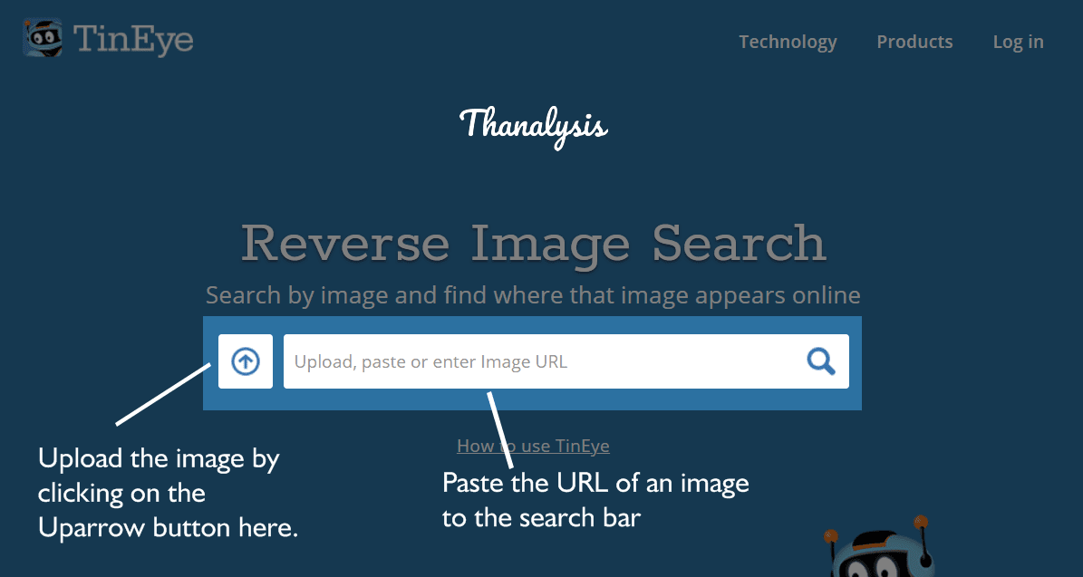 Paste the URL of the image or upload it on TinEye.