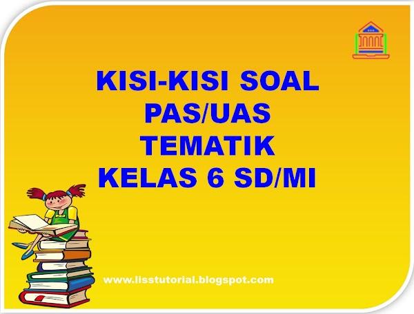 Kisi-kisi Soal PAS/UAS Tematik Kelas 6 SD/MI Semester 1 Kurikulum 2013