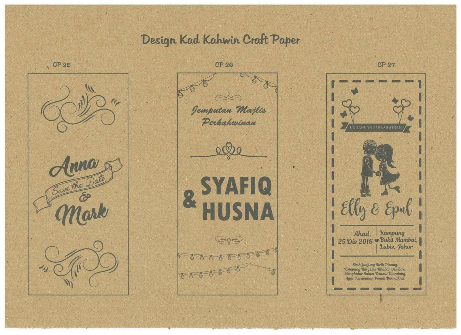 Isr Design Printing Kad Kahwin Craft Paper