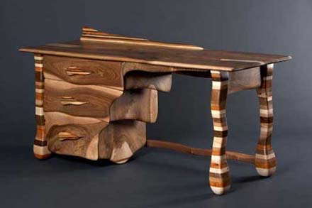 Made From A Combination Of Walnut Sycamore Elm Oak And Yew The Rainbow Desk Gathers Beautiful Collection Wood Types In Single