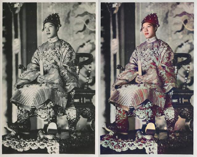 Hình ảnh chụp vua Bảo Đại trước và sau khi chỉnh sửa.
