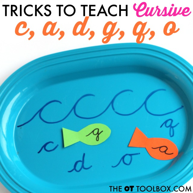 Practice cursive letter formation using Wave Letters to practice handwriting and teach cursive letter c, a, d, g, q, and o with this fun fish handwriting activity.