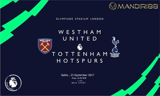 Liga Premier Inggris kembali kembali dilangsungkan pada final pekan ini Berita Terhangat Prediksi Bola : West Ham United Vs Tottenham Hotspur , Sabtu 23 September 2017 Pukul 18.30 WIB