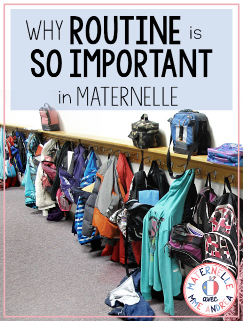There are lots of little tips and tricks to help make teacher life in maternelle easier, but routine is probably the most important one of all. Young students THRIVE on routine, and it is beneficial to everyone. Check out this blog post to see why routine is so key in maternelle! #maternelle #frenchteachers #larentrée