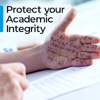 "Graphic of a hand with math answers written on it. Graphic has a heading that reads, ""Protect your academic integrity"""