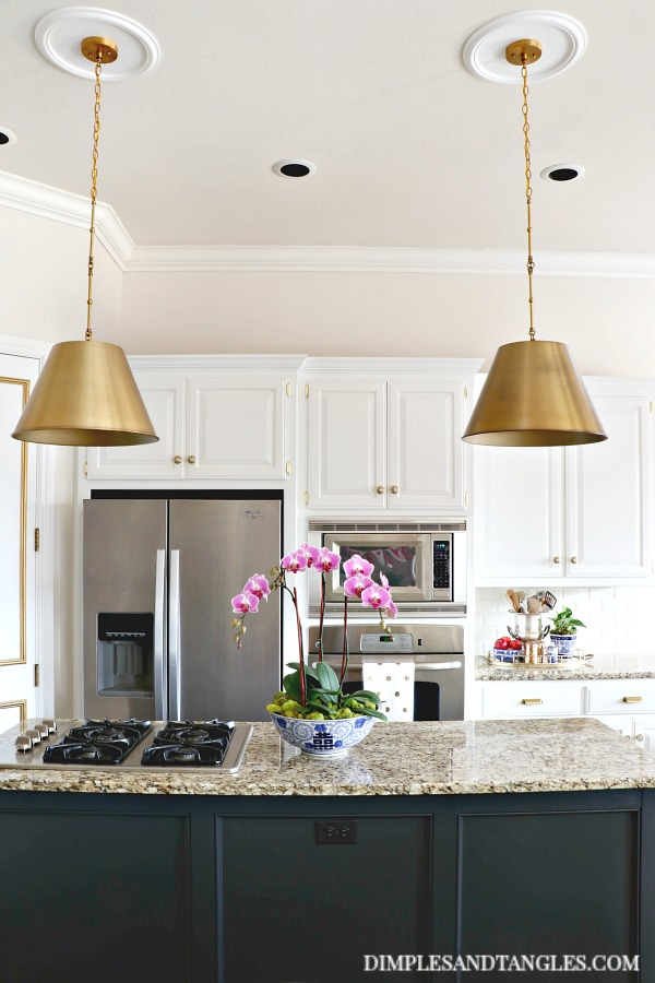 Savoy Alden Brass Pendant, white kitchen, black island, pendant lights