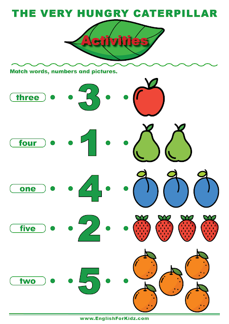 The Very Hungry Caterpillar activity to learn English numbers