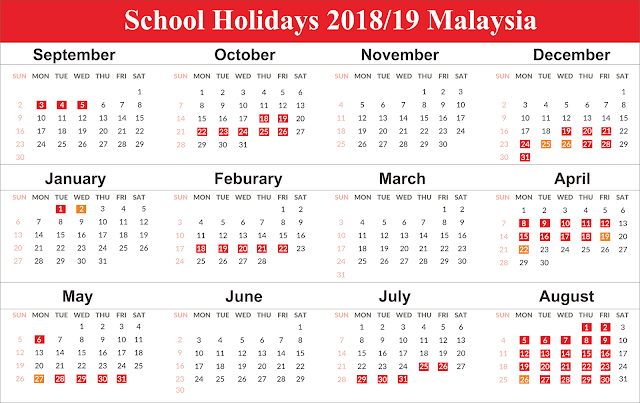Free Template Malaysia School Holiday Calendar 2019