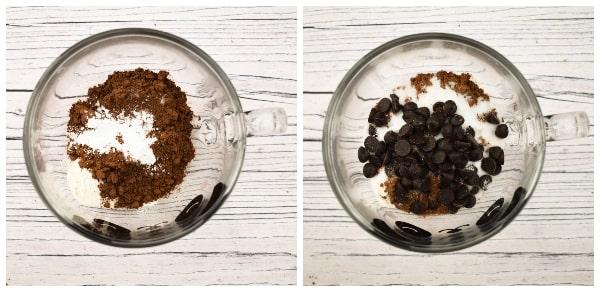 Making a chocolate brownie mug cake - step 2 - baking powder, salt and chocolate chips