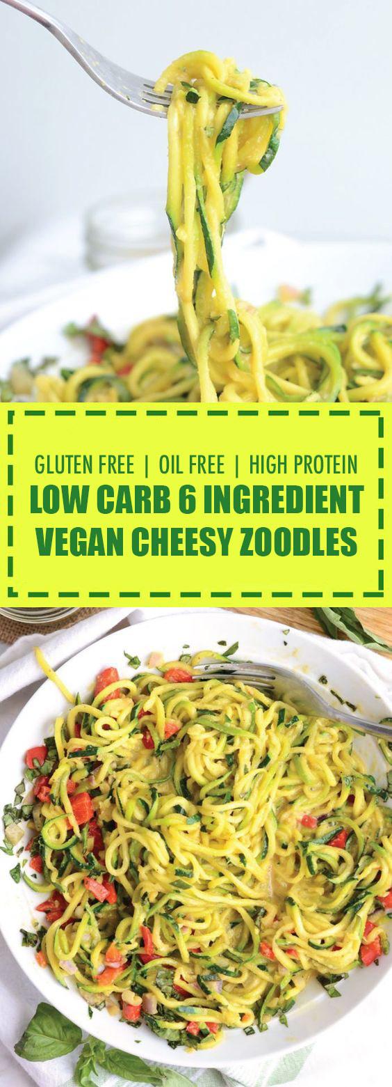 6 Ingredient Vegan Cheesy Zoodles