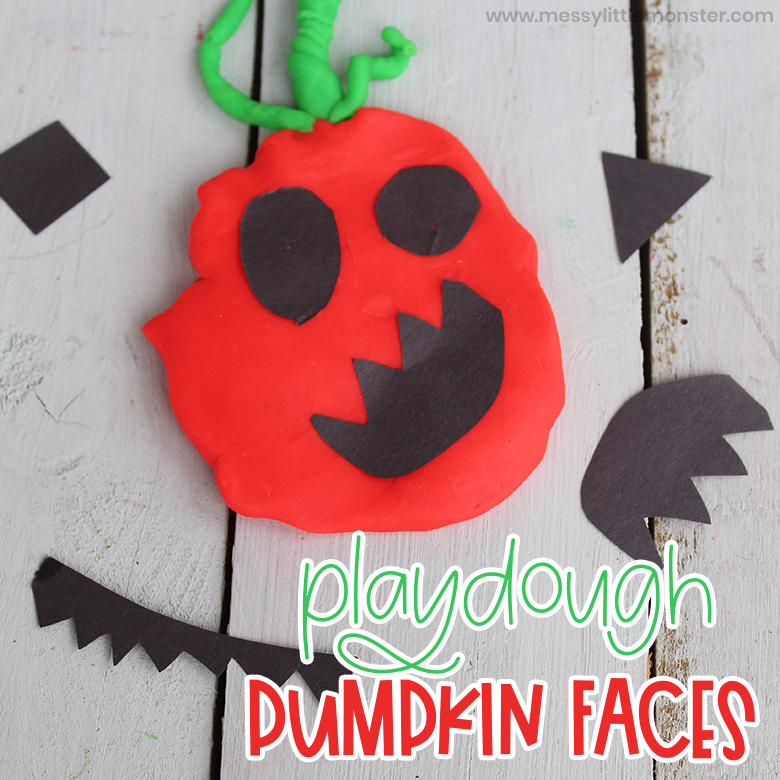 Playdough pumpkin activity for preschoolers