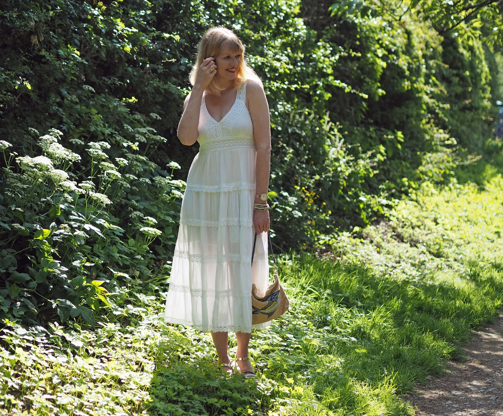 white lace midi dress with espadrilles, Louella Odie fish pouch bag