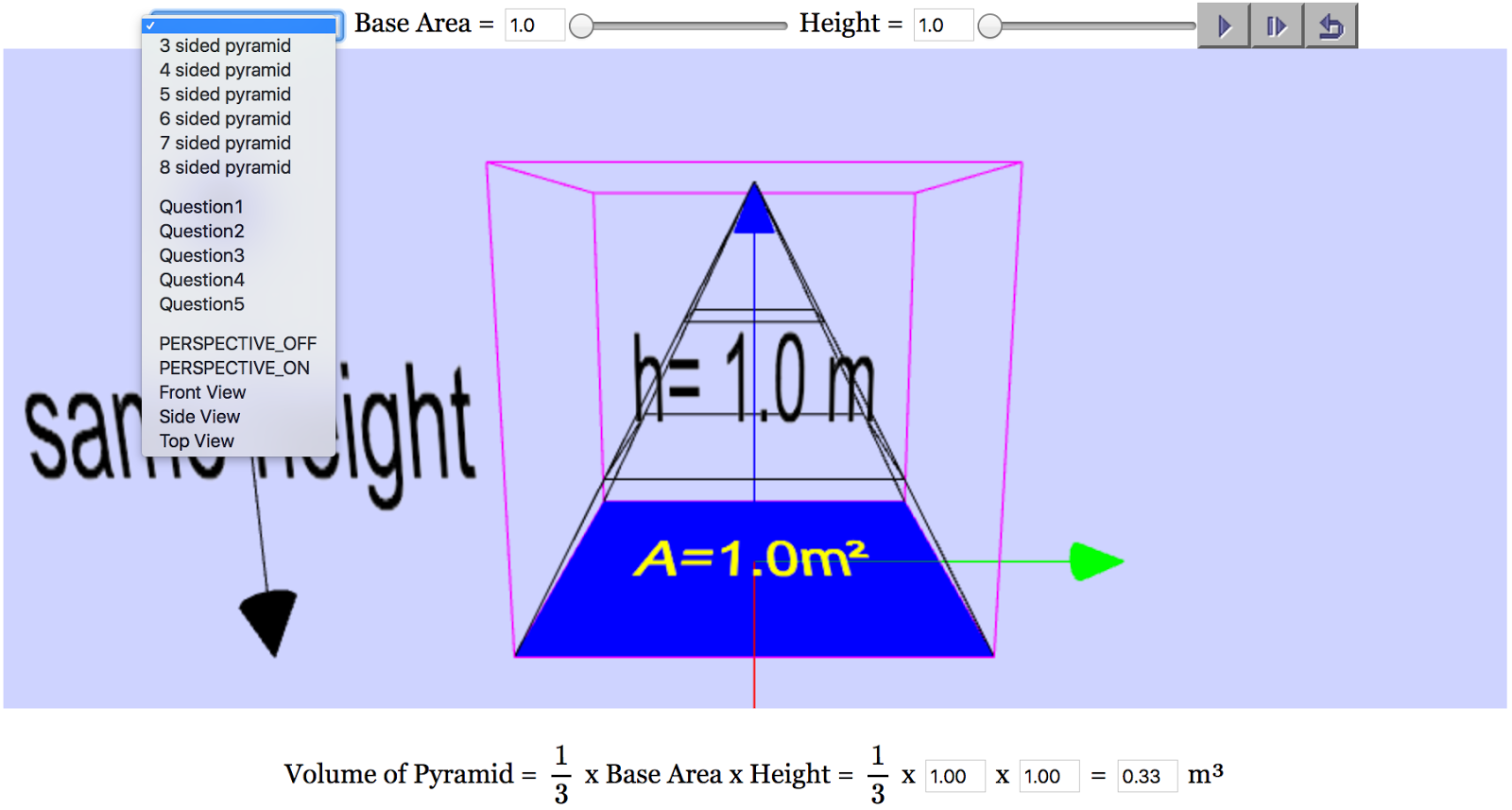 volume of pyramid in 3d webgl javascript html5 applet simulation