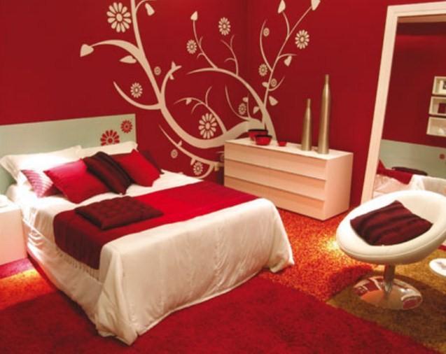 warna cat kamar tidur merah hitam 2