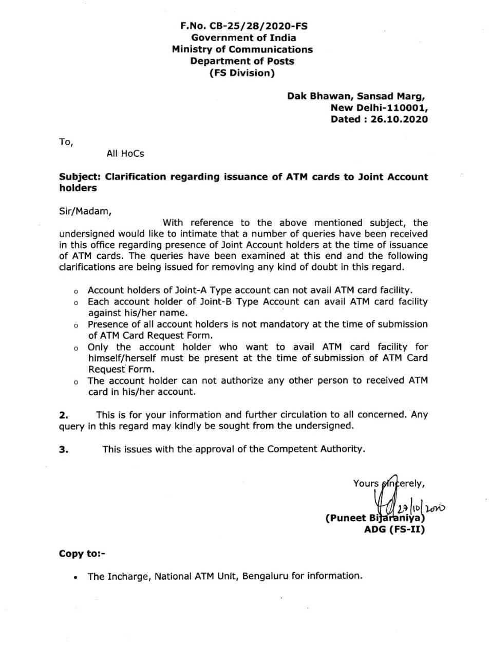 DOP clarification on ATM card for joint account