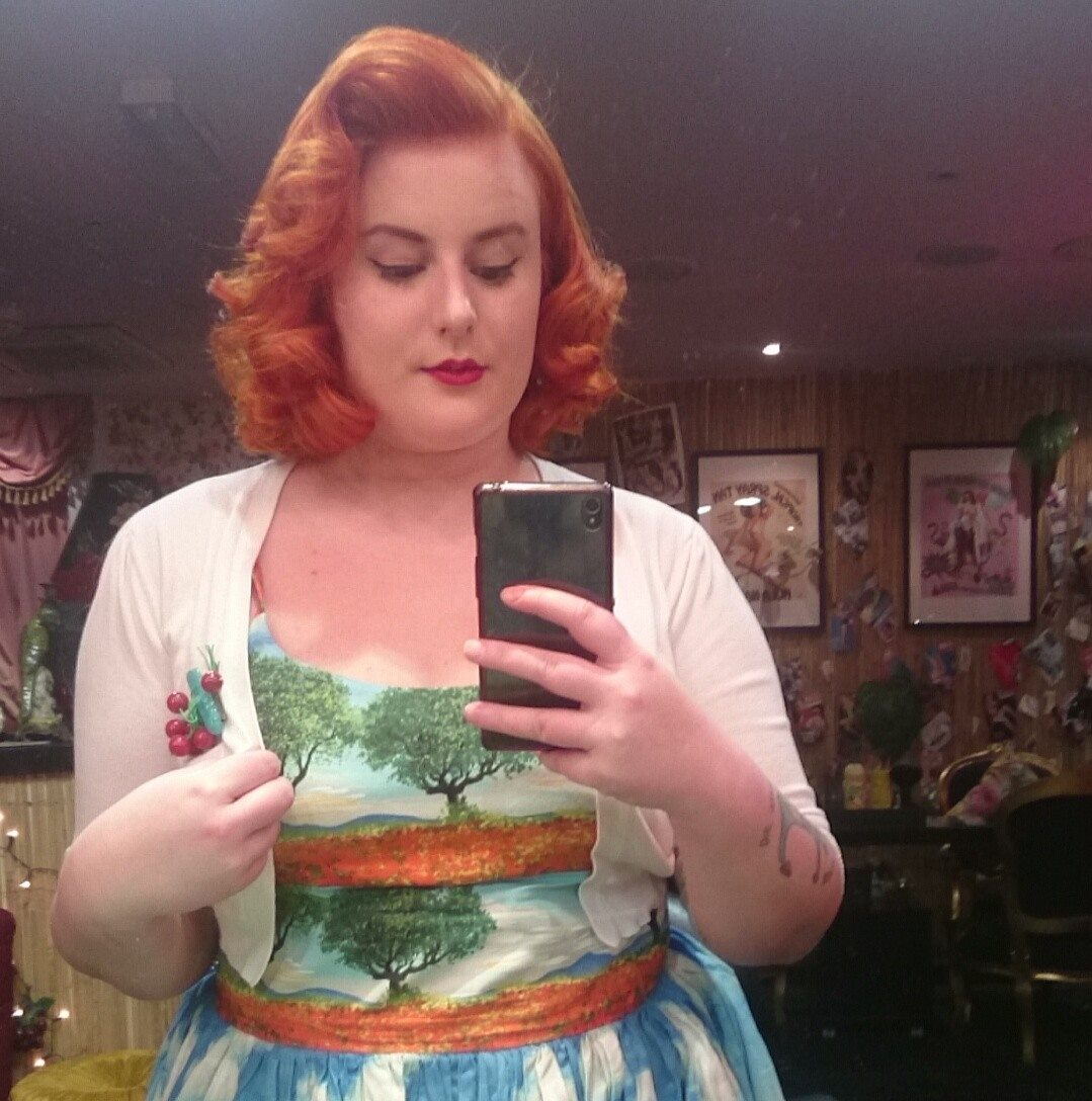 lucie luella performed hair magic on me and I'm wearing bernie dexter dress
