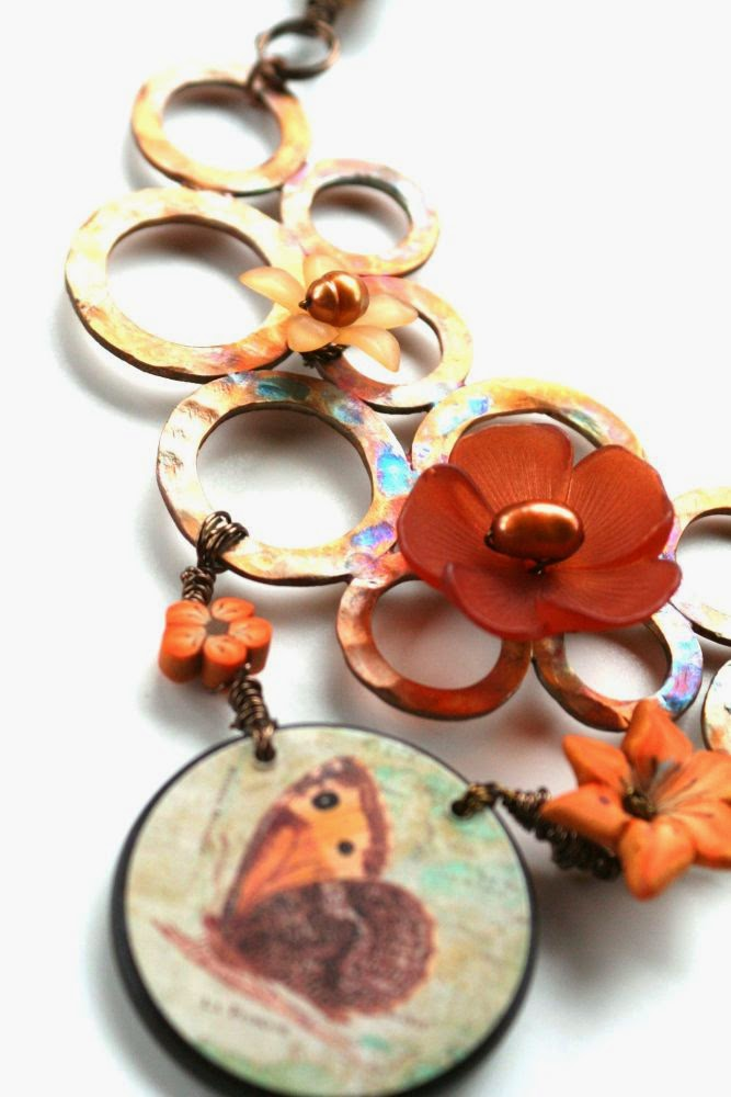 Childhood memories garden: ooak necklace detail ~ copper washers base, focal by Marie-Noel Voyer-Cramp of Skye Jewels, polymer clay by Elaine Robataille, pearls, lucite :: All Pretty Things