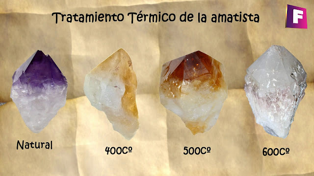 proceso de conversion de amatista a citrino - minerales falsos