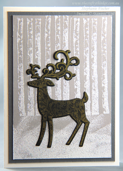 #thecraftythinker #stampinup #cardmaking #christmascard #winterwoods #dashingdeer , Dashing Deer, Winter Woods, Shimmery White embossing powder, Trio of Christmas cards, Stampin' Up Demonstrator, Stephanie Fischer, Sydney NSW