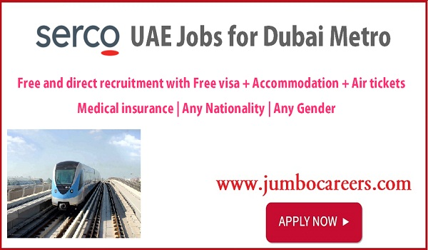 latest Dubai Metro Recruitment with benefits, Dubai Metro jobs salary details,