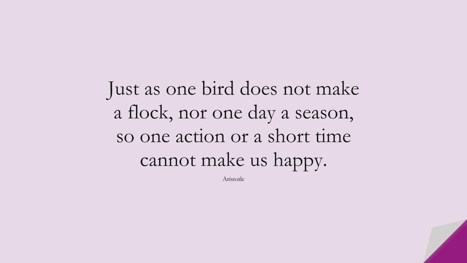 Just as one bird does not make a flock, nor one day a season, so one action or a short time cannot make us happy. (Aristotle);  #NeverGiveUpQuotes