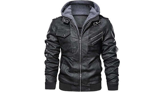 HOOD CREW Men's Motorcycle Bomber Jacket