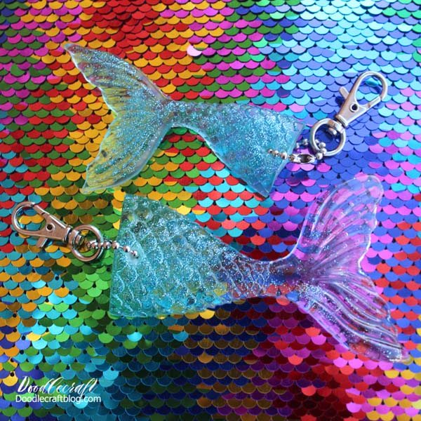 Glittery mermaid tale keychains made with easy cast resin and silicone mold.