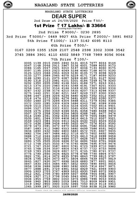 Lottery Sambad Dear Super Lottery Results 24-09-2020 Nagaland State